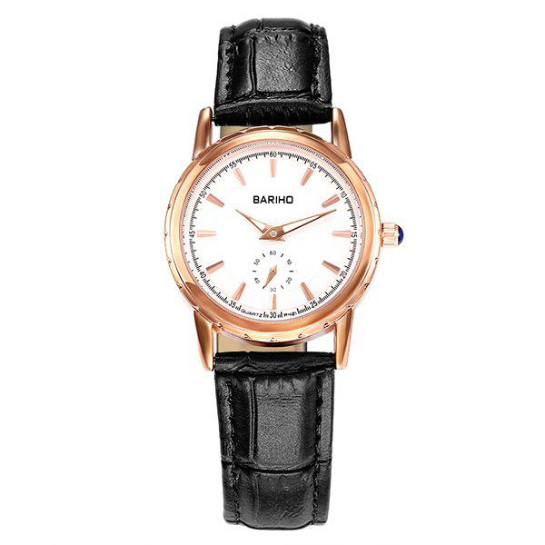 Vintage Adorn PU Leather Watch - BLACK