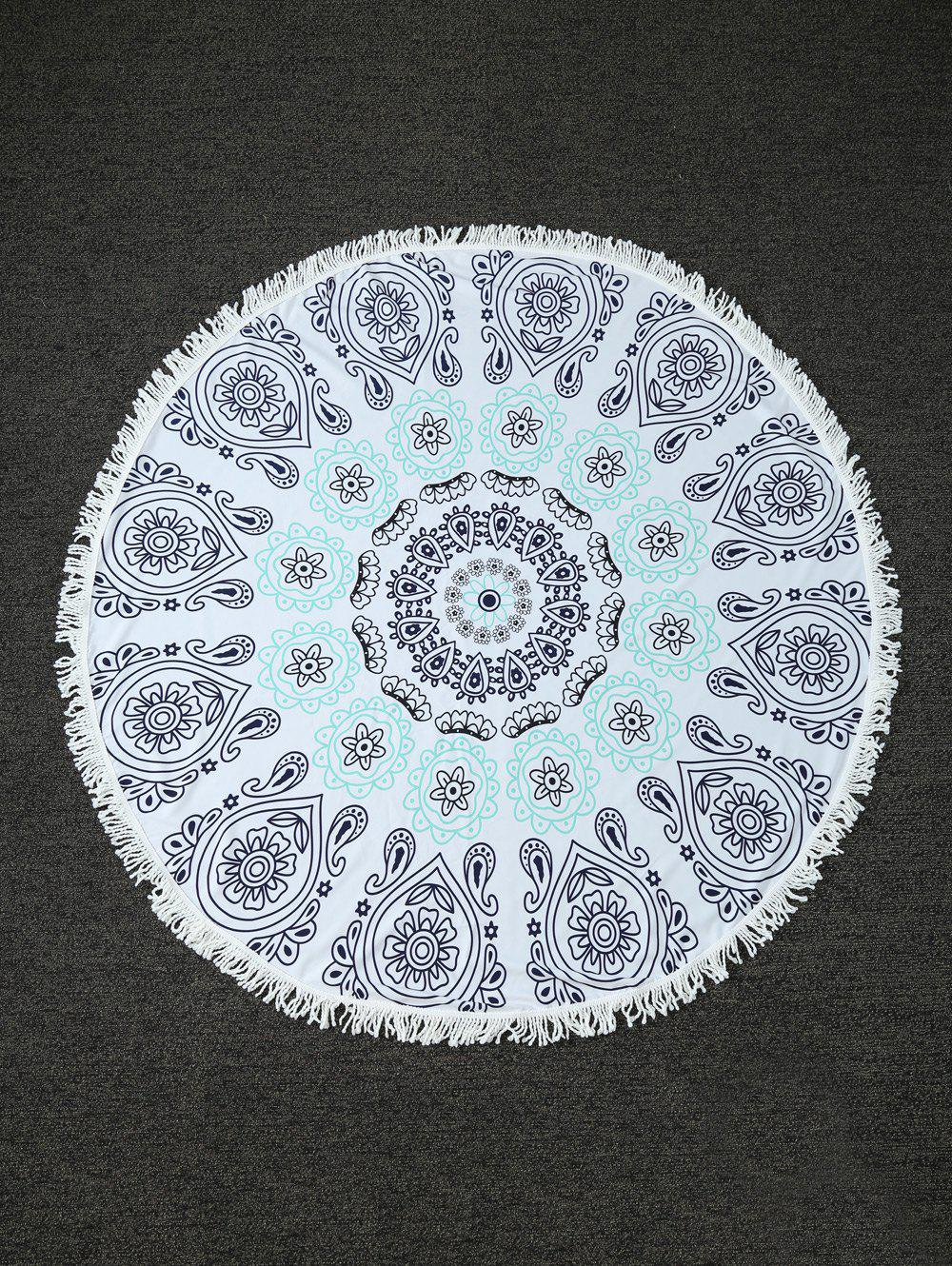 Paisley Print Round Beach Throw with Fringed Trim - WHITE ONE SIZE