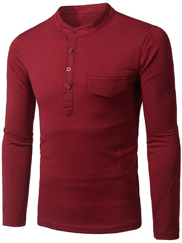 Fashion Pocket and Button Design Stand Collar Long Sleeve Slimming Men's Polyester Polo Shirt - RED M