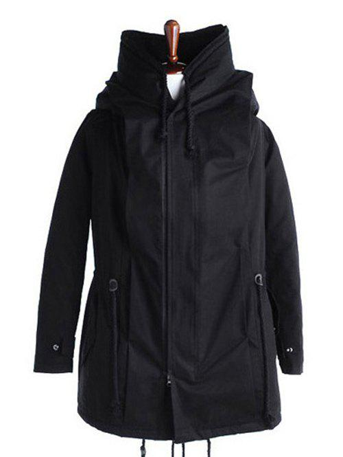 Back Slit Drawstring Cotton Padded Parka Coat - BLACK L