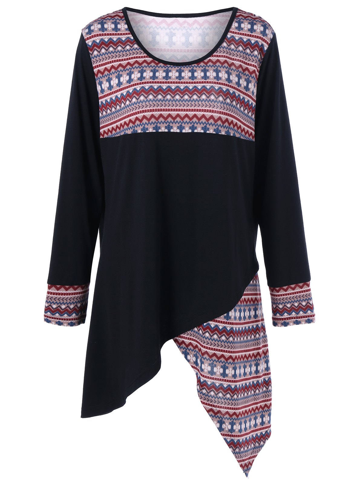 Tribal Print Plus Size Asymmetric T-Shirt - COLORMIX 3XL