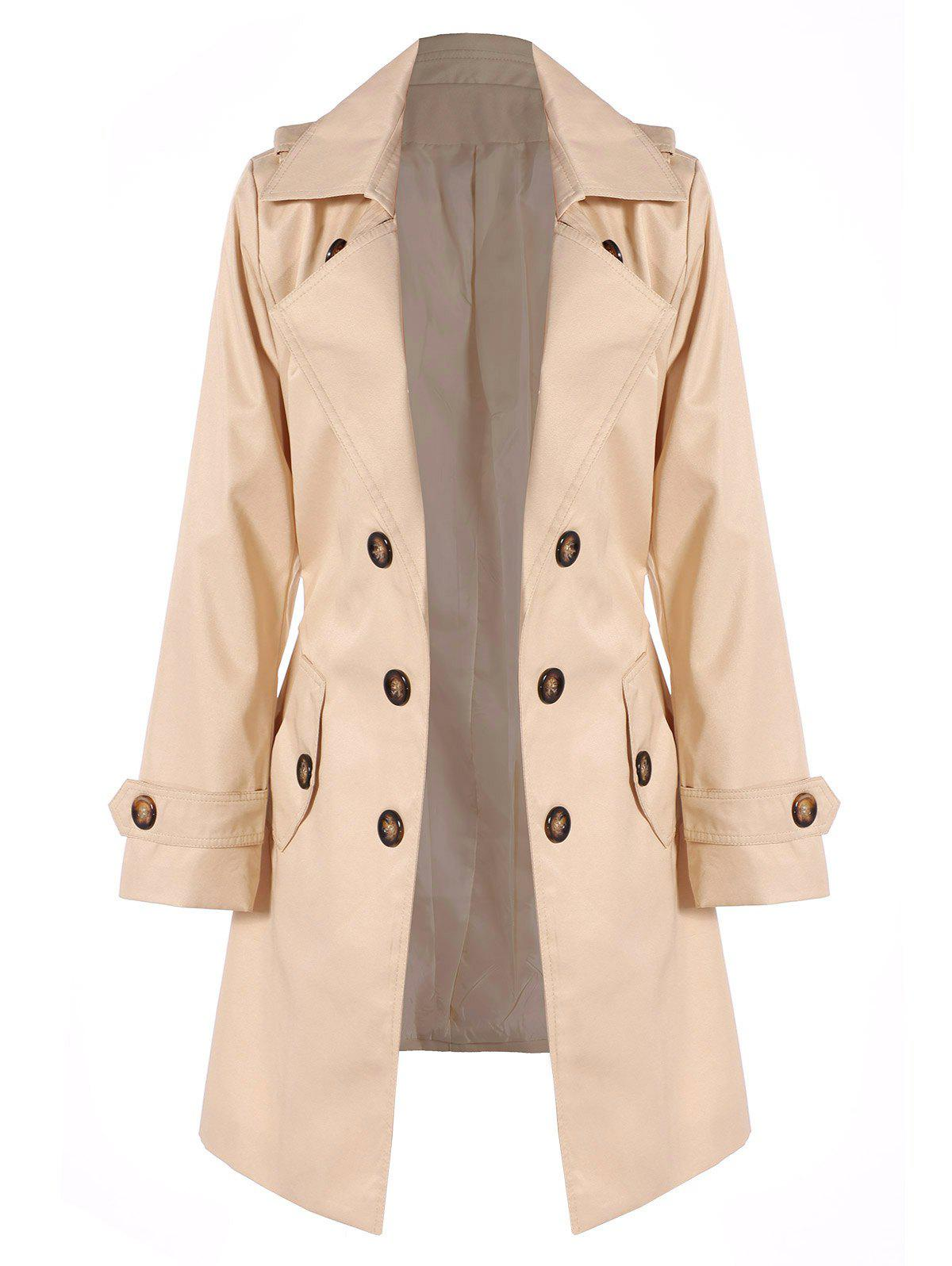 Belted Double Breasted Trench Coat with Pockets - LIGHT KHAKI L
