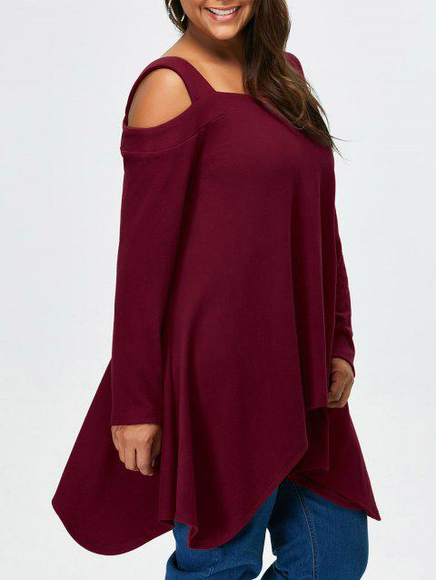 Plus Size Cold Shoulder Asymmetrical Tee - DARK RED 4XL