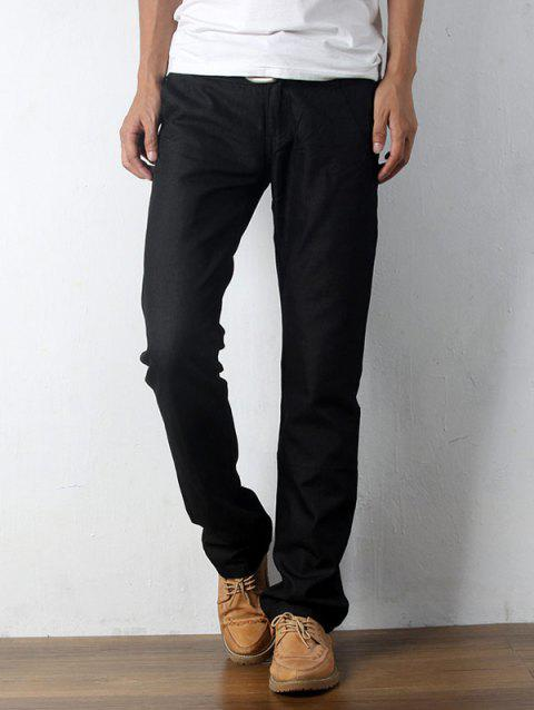 Zipper Fly Straight Leg Casual Pants - BLACK 28