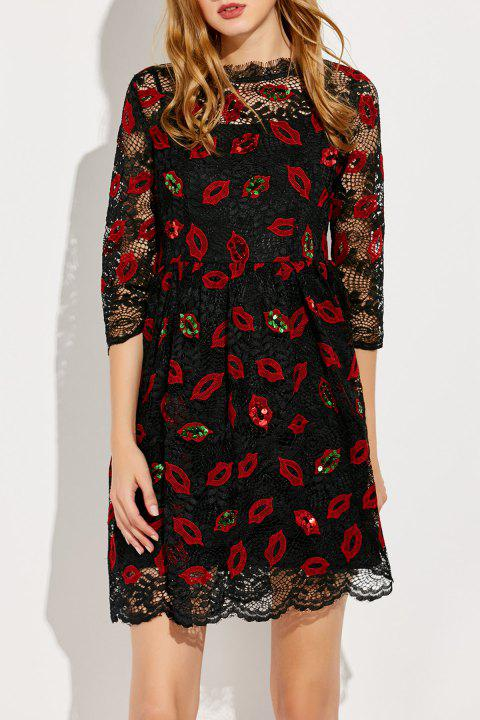 Mesh Embroidered A Line Dress - RED/BLACK M