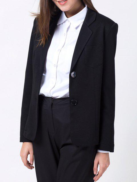 Lapel Collar Back Slit Blazer - BLACK XL