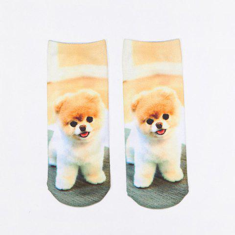 3D Little Pomeranian Print Crazy Socks - LIGHT BROWN