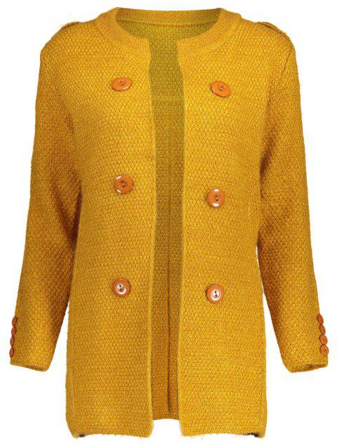Button Long Chunky Cardigan - GINGER ONE SIZE