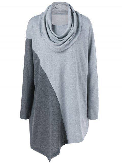 Plus Size Cowl Neck Asymmetrical Tee - GRAY XL
