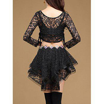 Lace Long Sleeve Top With Layered Skirt - L L