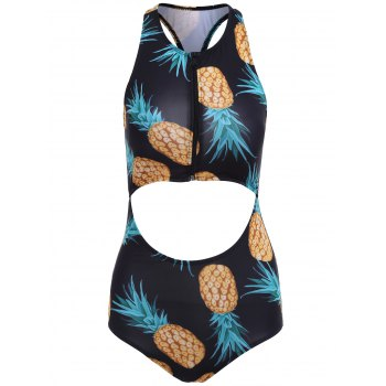 Pineapple Print Cut Out Racerback Swimsuit - BLACK S