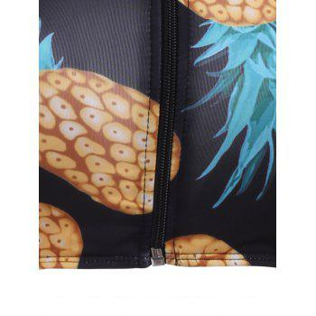Pineapple Print Cut Out Racerback Swimsuit - S S