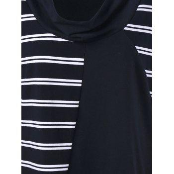 Plus Size Cowl Neck Striped Tunic T-Shirt - WHITE/BLACK 3XL