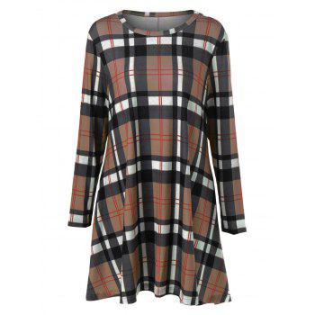 Plus Size Plaid Long Sleeves A-Line Dress