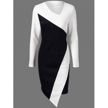 Color Block Asymmetric Fitted Dress