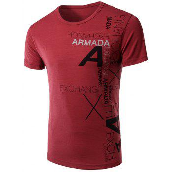 Round Neck Slimming Stylish Letter Print Short Sleeve Men's Polyester T-shirt - WINE RED 2XL