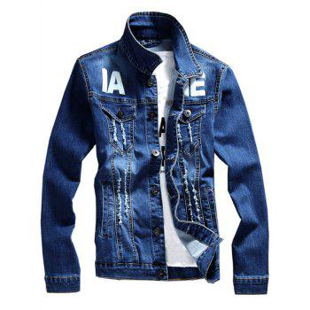 Distressed Graphic Print Denim Jacket