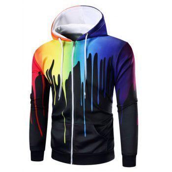 Buy Paint Dripping Print Zipper Hoodie BLACK