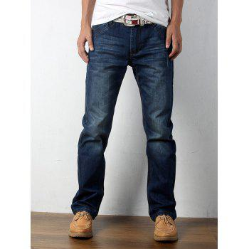 Comfort Fit Zipper Fly Straight Leg Jeans