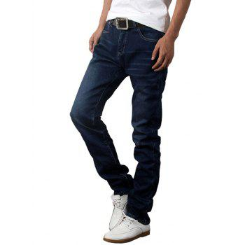 Slim Fit Zip Fly Flocking Straight Leg Jeans