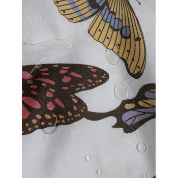 Butterfly Print Polyester Waterproof Bathroom Curtain - WHITE