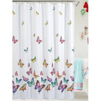 Butterfly Print Polyester Waterproof Bathroom Curtain
