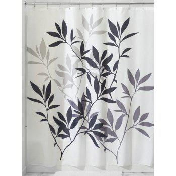 Leaf Print Polyester Waterproof Bathroom Curtain - WHITE WHITE