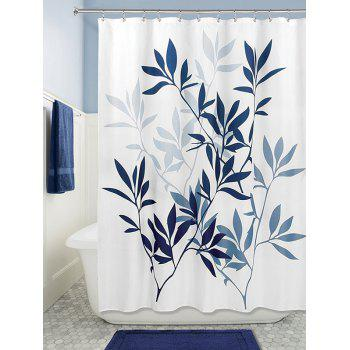Leaf Print Polyester Waterproof Bathroom Curtain - DEEP BLUE DEEP BLUE