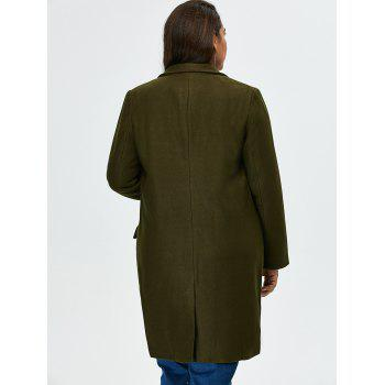 Plus-size manteau long à palangre d'autocollants - RAL Olive Jaune 5XL