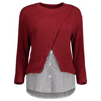 Plus Size Striped Trim Knitwear - RED RED