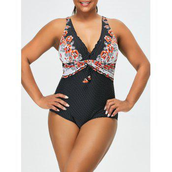 Plus Size Polka Dot and Floral Swimwear
