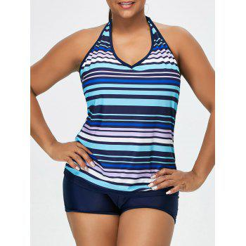 Padded Striped Plus Size Halter Tankini Swimsuits