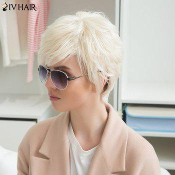 Siv Human Hair Short Fluffy Side Bang Straight Wig - WARM WHITE LIGHT