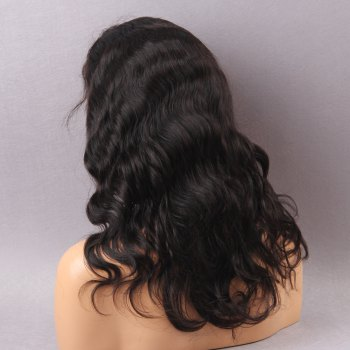 Long Body Wave Faddish Front Lace Human Hair Wig - BLACK BLACK