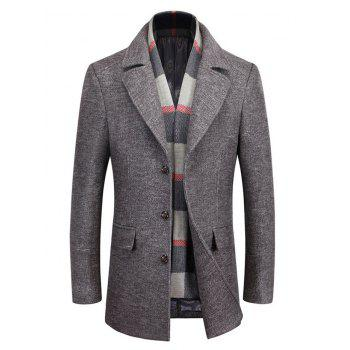 Lapel Collar Buttoned Marled Coat with Scarf