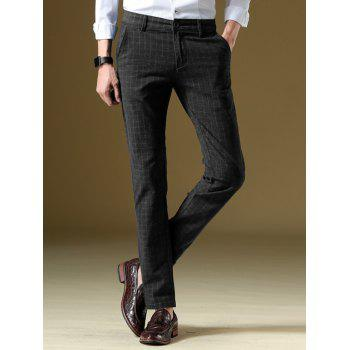 Slim Fit Straight Zipper Fly Plaid Pants