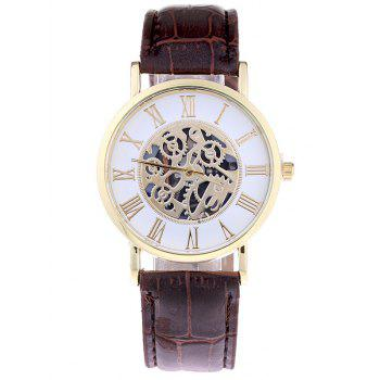 Faux Leather Gear Quartz Watch