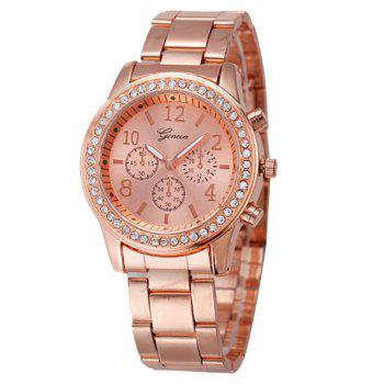 Metal Rhinestone Analog Wrist Watch