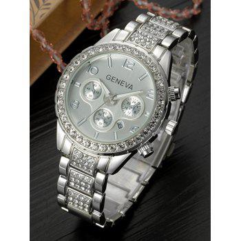 Metal Rhinestone Quartz Wrist Watch -  SILVER