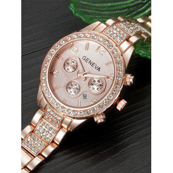 Metal Rhinestone Quartz Wrist Watch -  ROSE GOLD