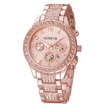 Metal Rhinestone Quartz Wrist Watch - ROSE GOLD ROSE GOLD