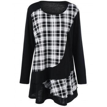 Plus Size Plaid Trim Overlay Long Sleeve T-Shirt - CHECKED CHECKED