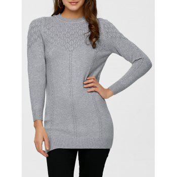 Mock Neck Cable Knit Long Sweater