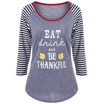 Thankful Print Striped T-Shirt