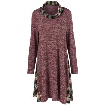 Plus Size Plaid Panel Longline T-Shirt - BRICK-RED BRICK RED