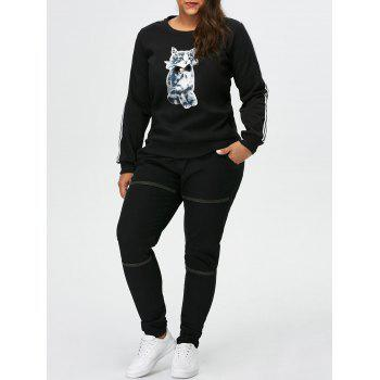 Plus Size Kitten Pattern Fleece Sweatshirt