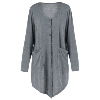Button Up Asymmetrical Plus Size Long Knit Cardigan with Pockets