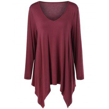 Plus Size V Neck Asymmetrical Tee
