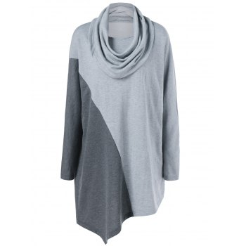 Plus Size Cowl Neck Asymmetrical Tee - GRAY GRAY