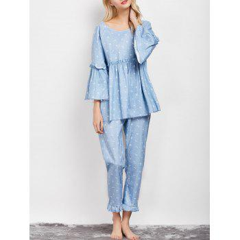 Ruffles Letter Smock Top and Pants Pajama